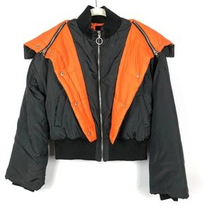 Black & Orange Street Style Layered Puffer Jacket